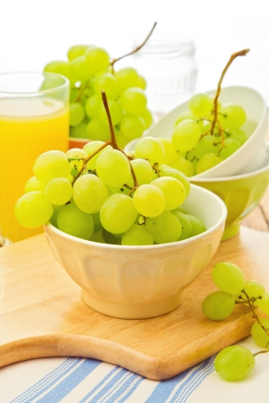 Grapes and orange juice for breakfast