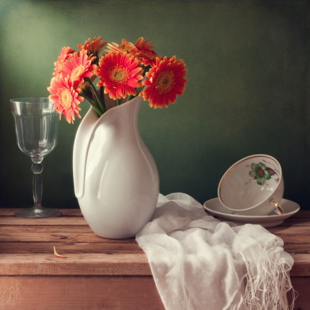 Still life with orange gerbera flowers