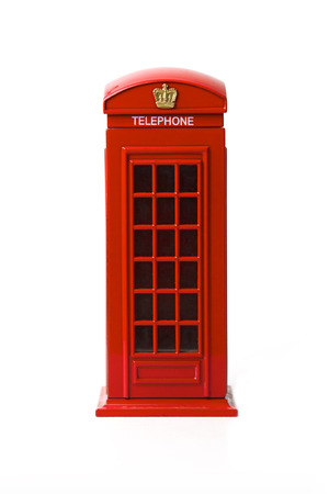telephone booth: London red telephone box on white background