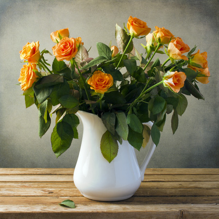 roses in vase: Beautiful rose flower bouquet Stock Photo