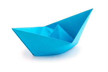 horozontal: Origami paper boat on white background