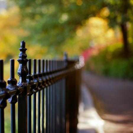 fence background: Fence against beautiful bokeh background Stock Photo