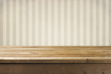 grunge wallpaper: Vintage striped pattern wall and wooden deck tabletop