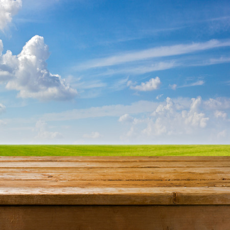 picnic table: Background with empty wooden table over beautiful medow