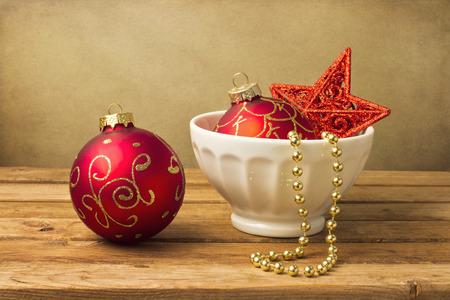 Festive christmas arrangement on wooden table