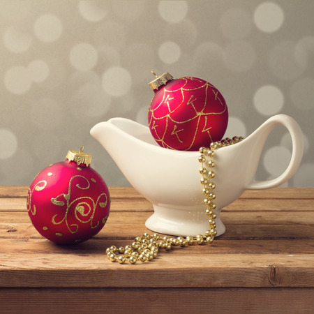 Christmas decorations with white tableware photo