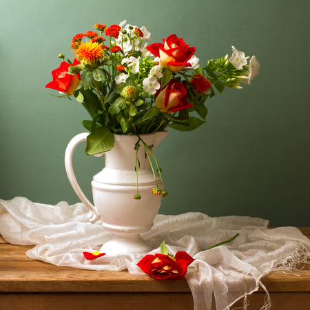 Still: Beautiful flower bouquet with red roses