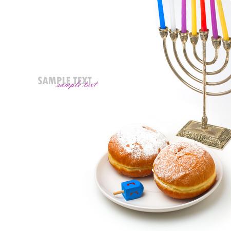 Jewish holiday Hanukkah symbols on white background Stock Photo