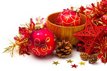 Festive Christmas still life on white background Stock Photo