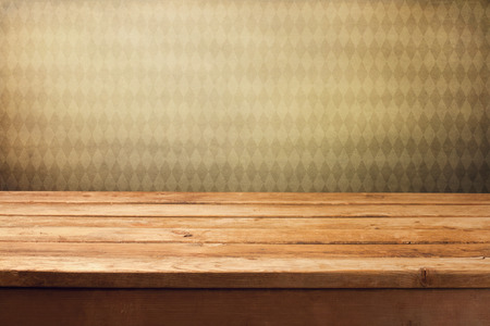 wood table: Background with wooden deck table and vintage retro wallpaper