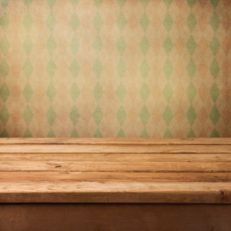 wooden deck: Background with wooden deck and retro wallpaper