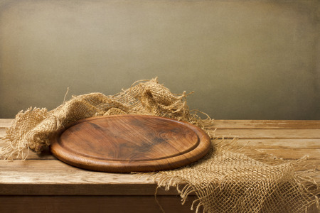 table: Background with wooden board over grunge background Stock Photo