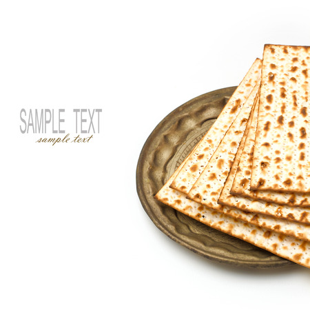 matzoth: Matza for passover seder celebration on white background Stock Photo