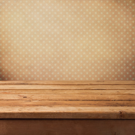 Pink vintage background with wooden deck table