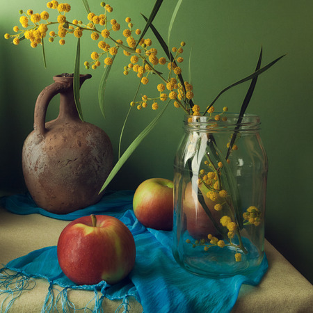Still life with mimosa flowers and apples