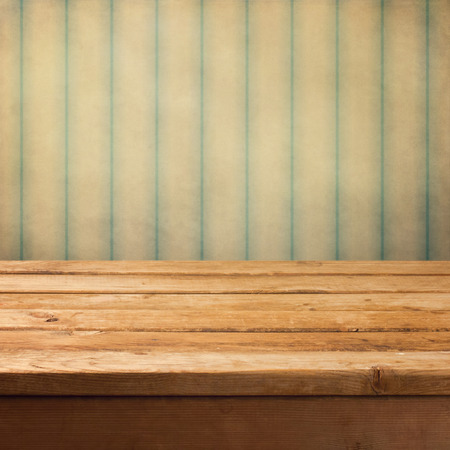 background vintage: Wooden deck table over grunge vintage background