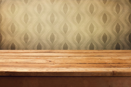 kitchen poster: Vintage background with empty wooden table and retro wallpaper