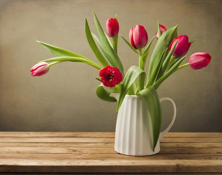 composition art: Beautiful tulip flower bouquet.