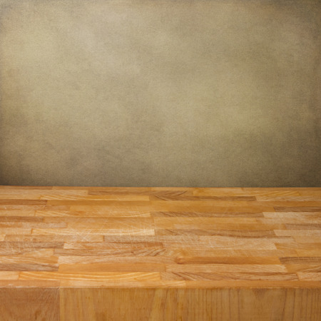rustic  wood: Background with wooden board over grunge wall