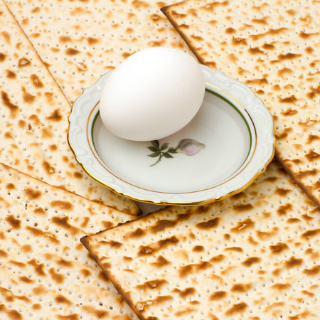 matzoth: Background with matzo and egg on plate