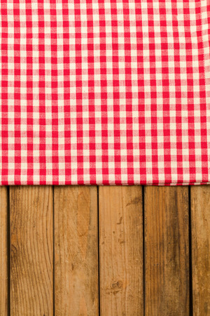 tabletop: Background with tablecloth over wooden deck tabletop Stock Photo