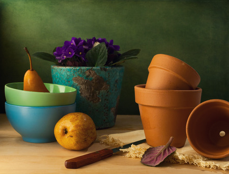 Still life with flower pots and bowls on wooden table Stock Photo - 40128618