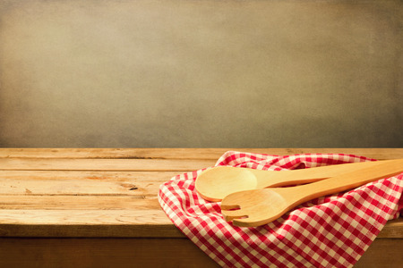tablecloth: Baking and cooking background with wooden table and tablecloth
