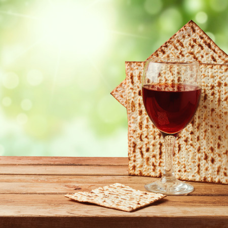 celebration background: Background with matzo and wine for Jewish Passover celebration