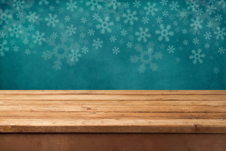 empty table: Christmas holiday background with empty wooden table