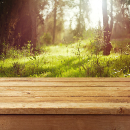 forest products: Empty wooden deck table over forest background