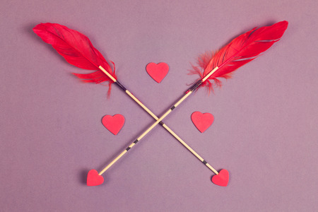 valentines background: Valentines day background. Arrows and heart shape Stock Photo