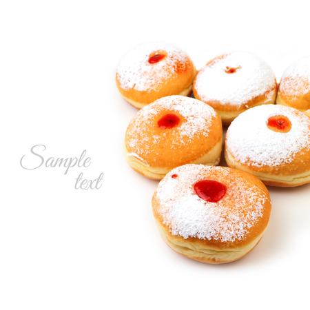 jewish cuisine: Sweet donut for jewish holiday hanukkah isolated on white background Stock Photo