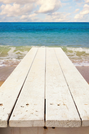 mariner: Nautical background with empty wooden deck over sea Stock Photo