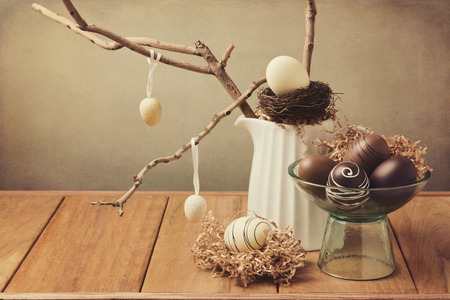 Easter eggs decoration on wooden table