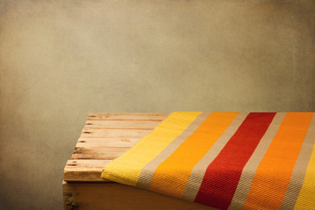 Vintage background with empty wooden table and placemat 写真素材