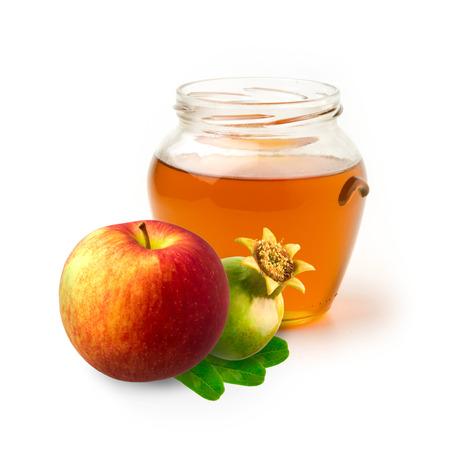honey apple: Honey, apple and pomegranate on white background