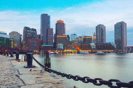 Boston Harbor and Financial District at sunset. Boston- Massachusetts, USA 版權商用圖片