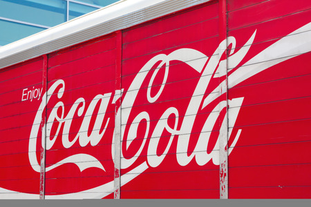 concentrates: NEW YORK, USA - JULY 11, 2014: Photo of  Coca cola truck.The Coca-Cola Company is an American beverage corporation and manufacturer of nonalcoholic beverage concentrates and syrups. Editorial
