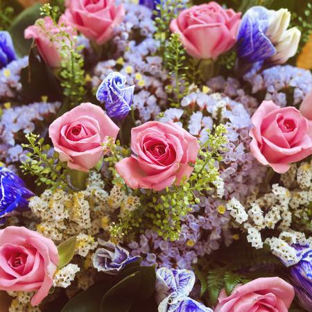 bouquet fleur: Rose bouquet de fleurs avec effet de filtre rétro