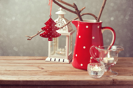 setting: Vintage style Christmas table decoration Stock Photo