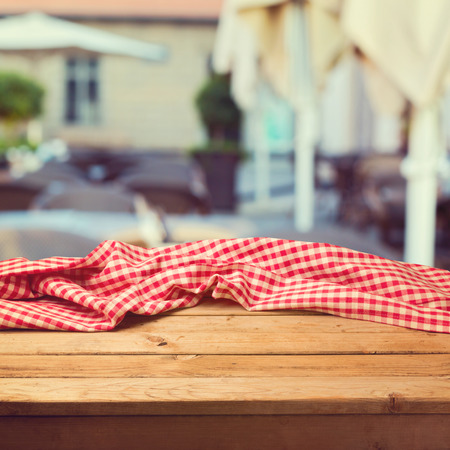 Table with cloth over restaurant blur background