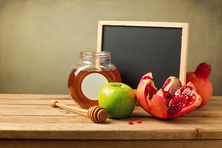 rosh: Honey, apple and pomegranate with chalkboard