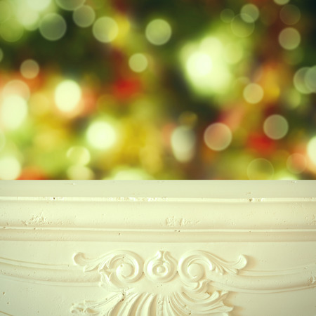 holiday lights display: Christmas background. Fireplace shelf background for display montage of new product