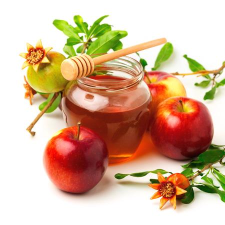 蜂蜜・ リンゴのユダヤ教の祝日ロッシュ Hashahah 写真素材