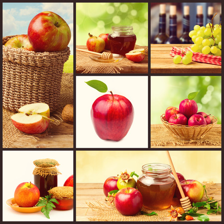 jewish food: Collage for Jewish New Year Holiday with apples and honey