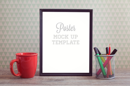 white website: Poster mock up template with coffee cup on wooden table