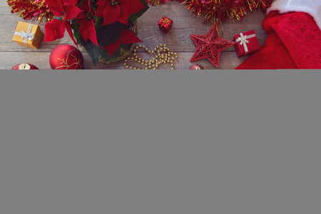 table top view: Christmas decorations and ornament on wooden background. View from above with copy space