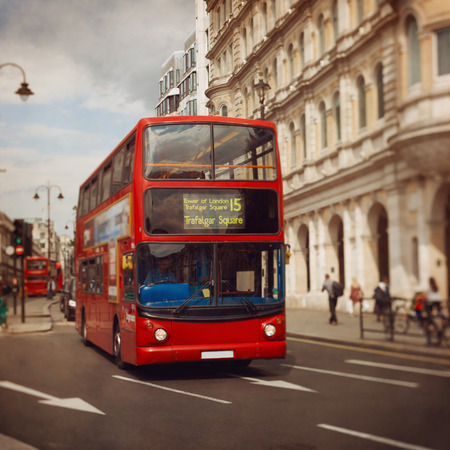 city of london: London red bus. Tilt shift lens.