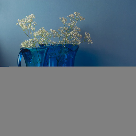 Still Life With Blue Glass Vases And Seashells Stock Photo Picture