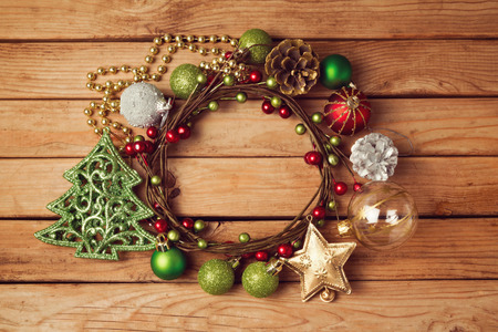 christmas decorations: Christmas background with Christmas wreath and decorations Stock Photo